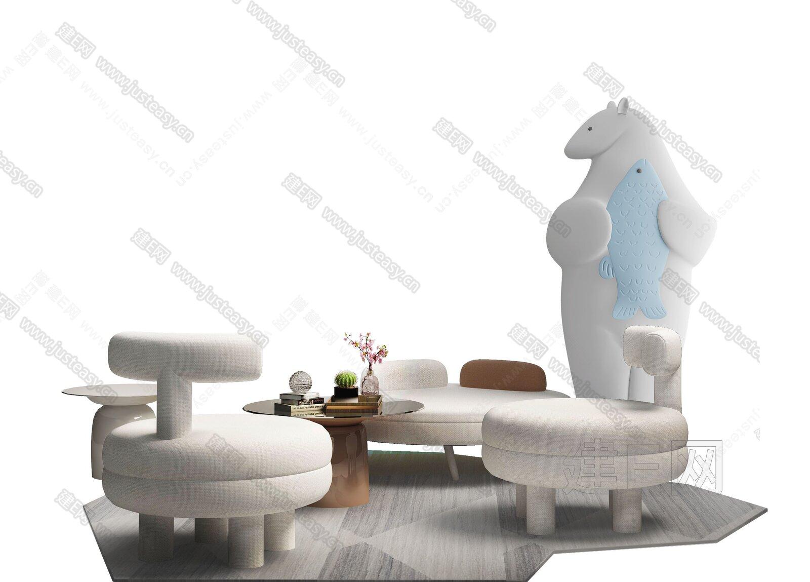 墨设设计 现代休闲桌椅组合3d模型