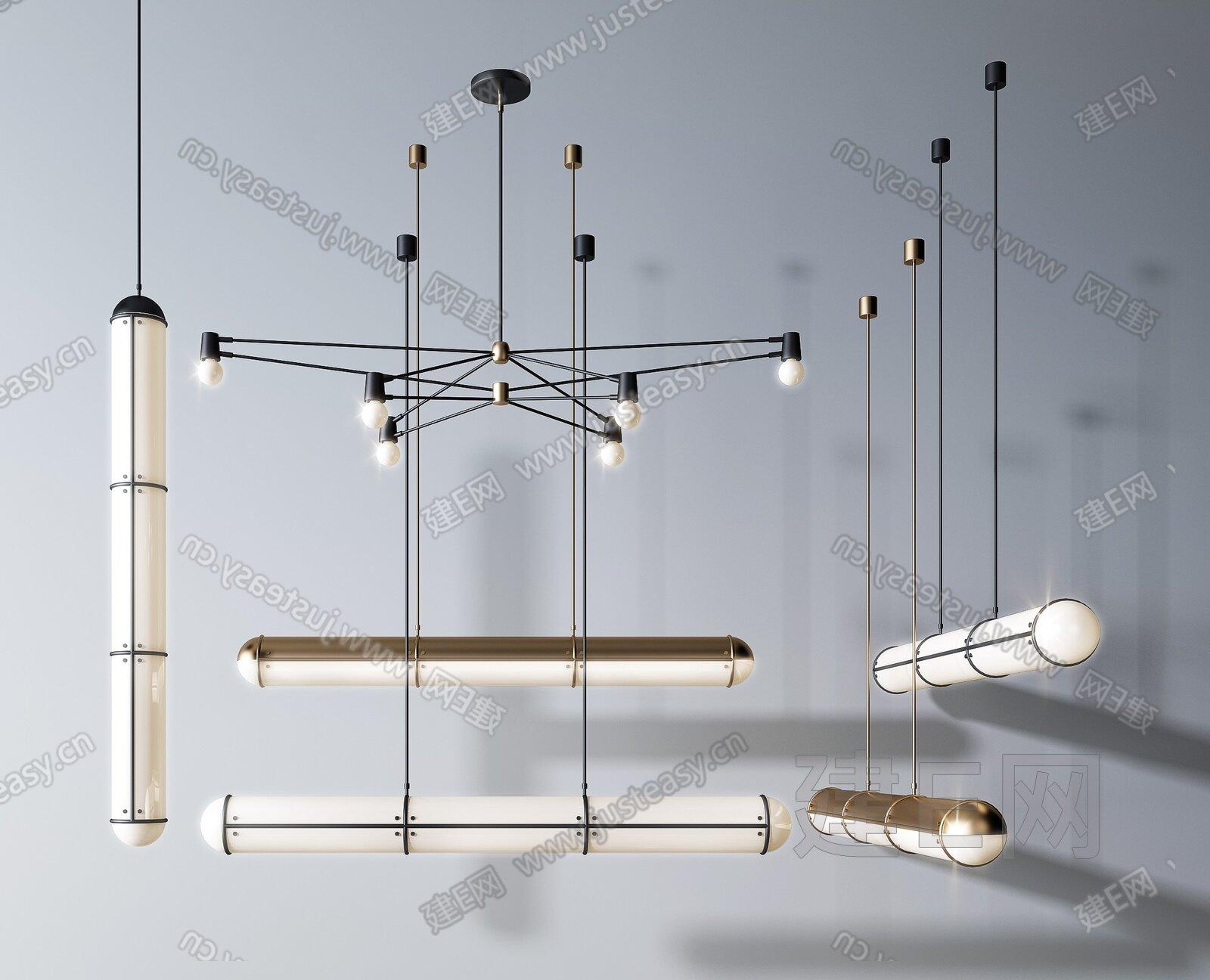 现代轻奢吊灯3d模型