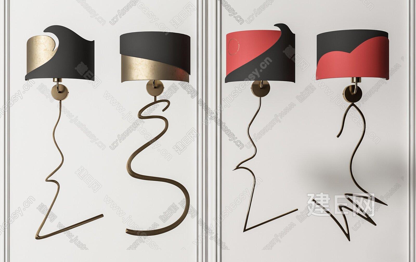 现代轻奢壁灯组合3d模型