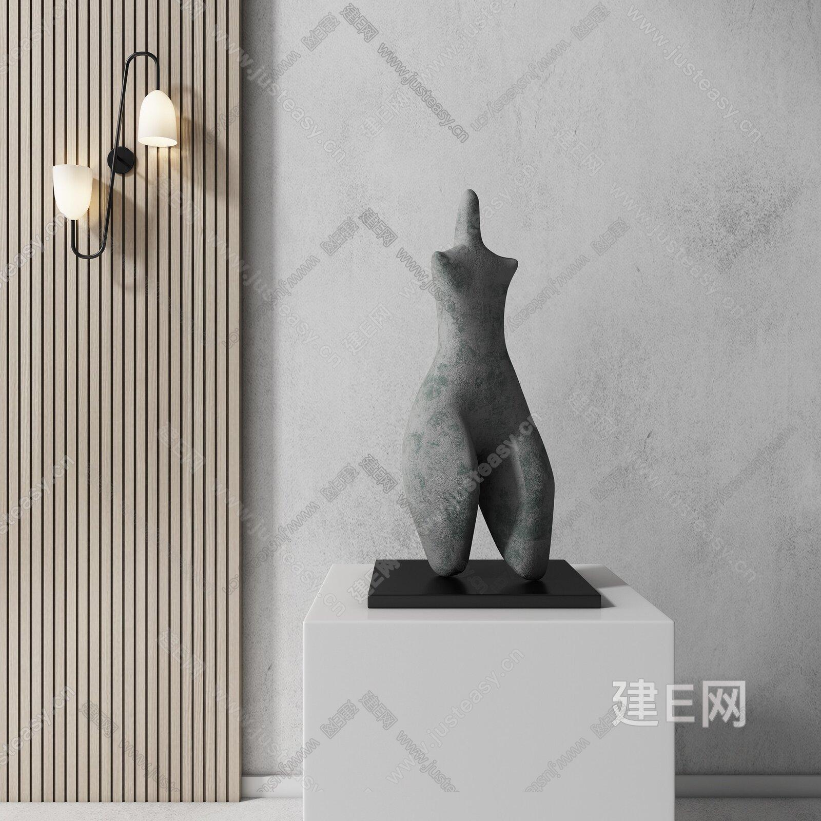 现代雕塑壁灯组合3d模型