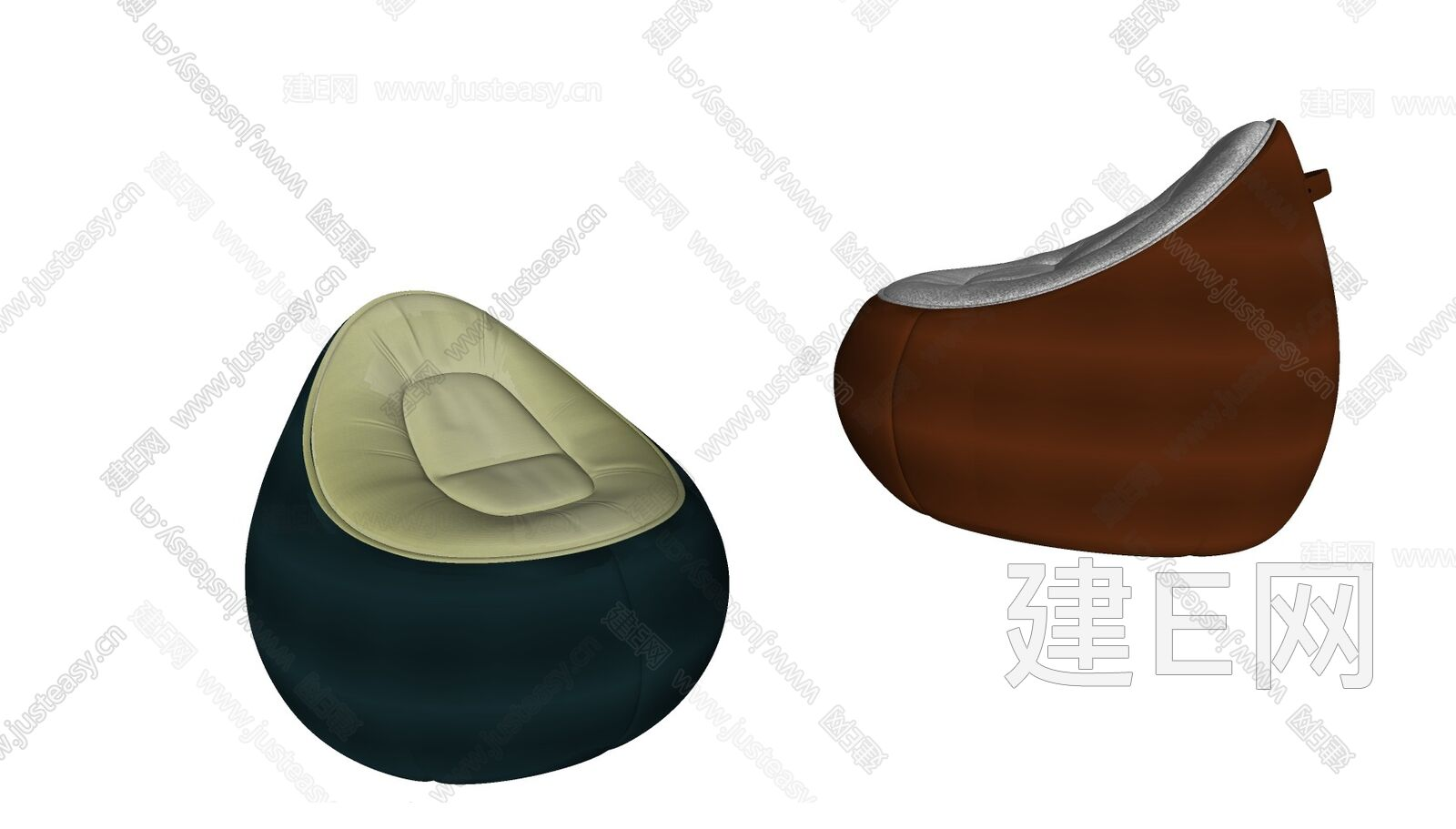 现代懒人沙发sketchup模型