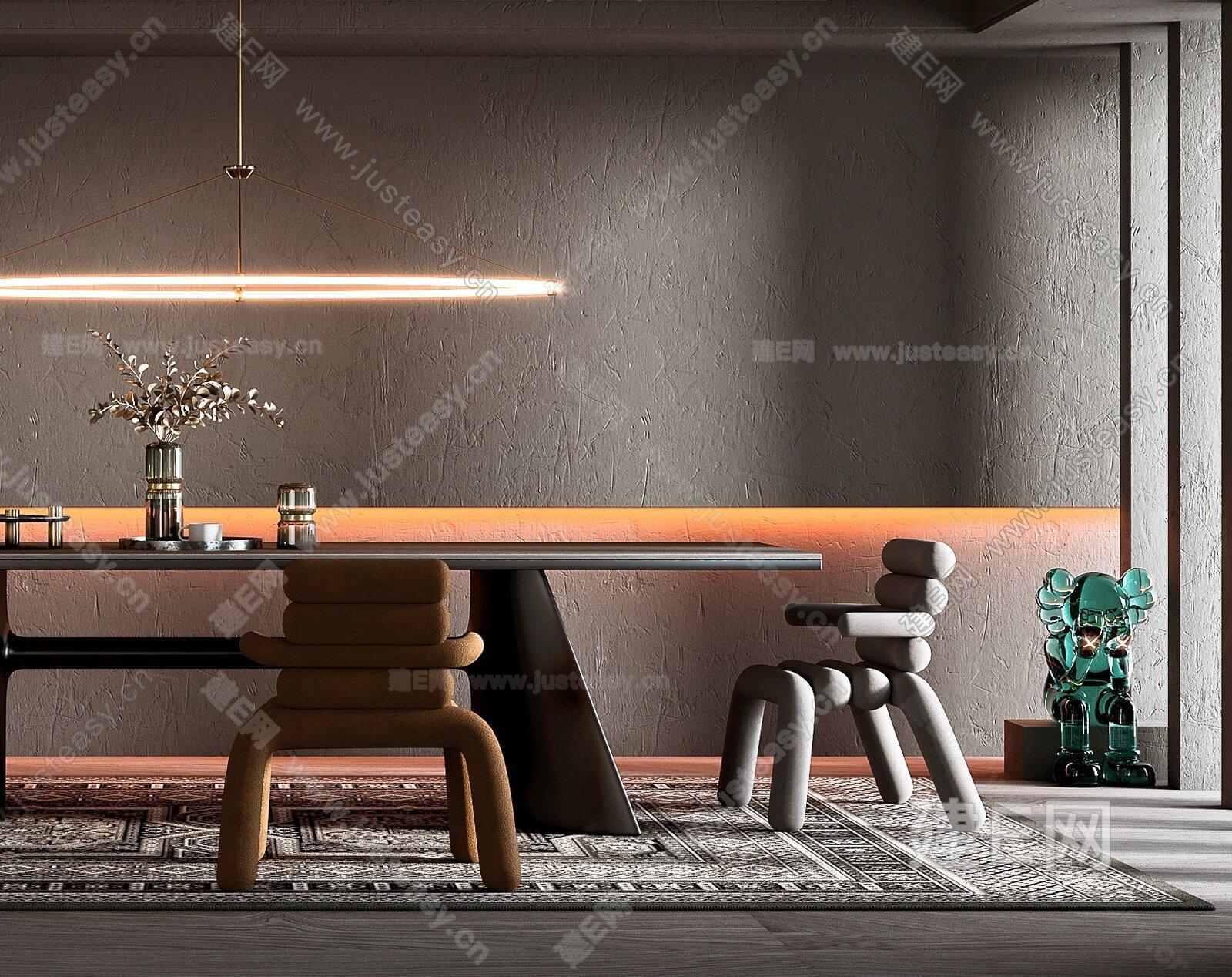 Serge Somkin 现代侘寂风餐厅 3d模型