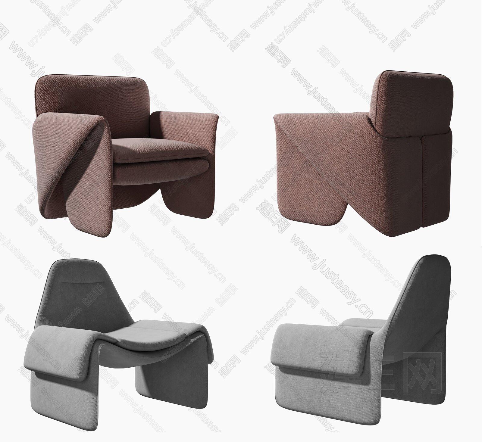 现代单人沙发组合3d模型