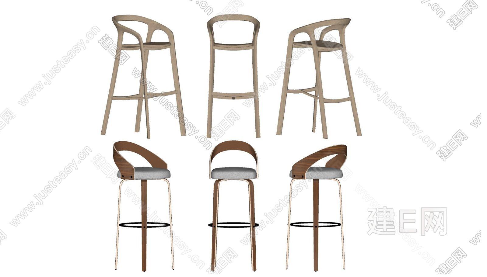 北欧吧椅组合sketchup模型
