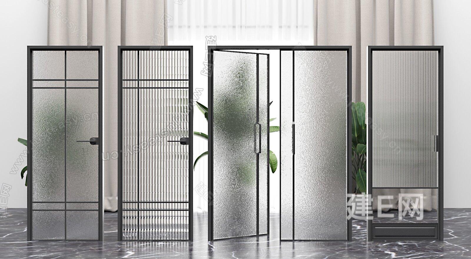 现代玻璃门组合3d模型