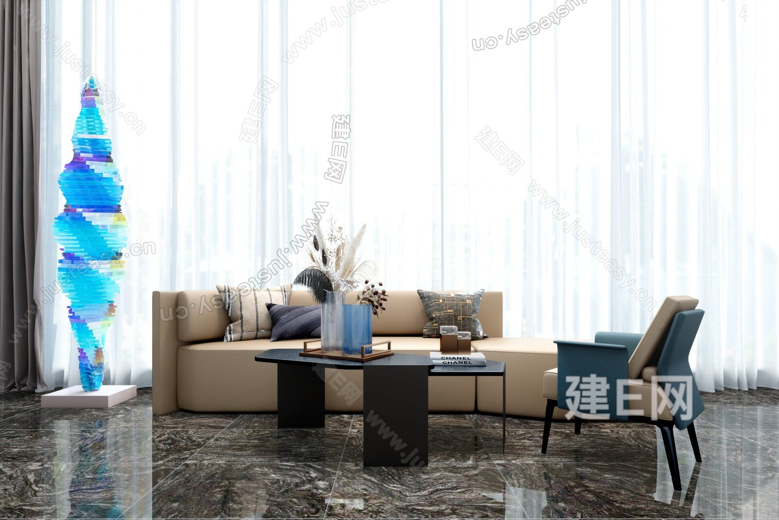 CLV赛拉维 现代沙发茶几组合3d模型