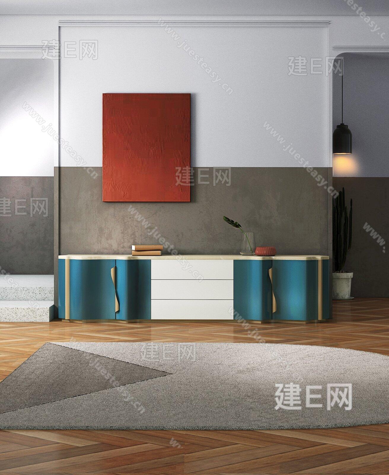 儒黛Roodior 现代轻奢电视柜港式电视柜地毯组合3d模型