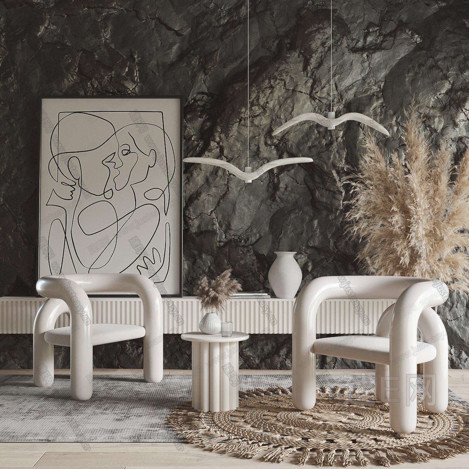 现代诧寂休闲椅组合3d模型