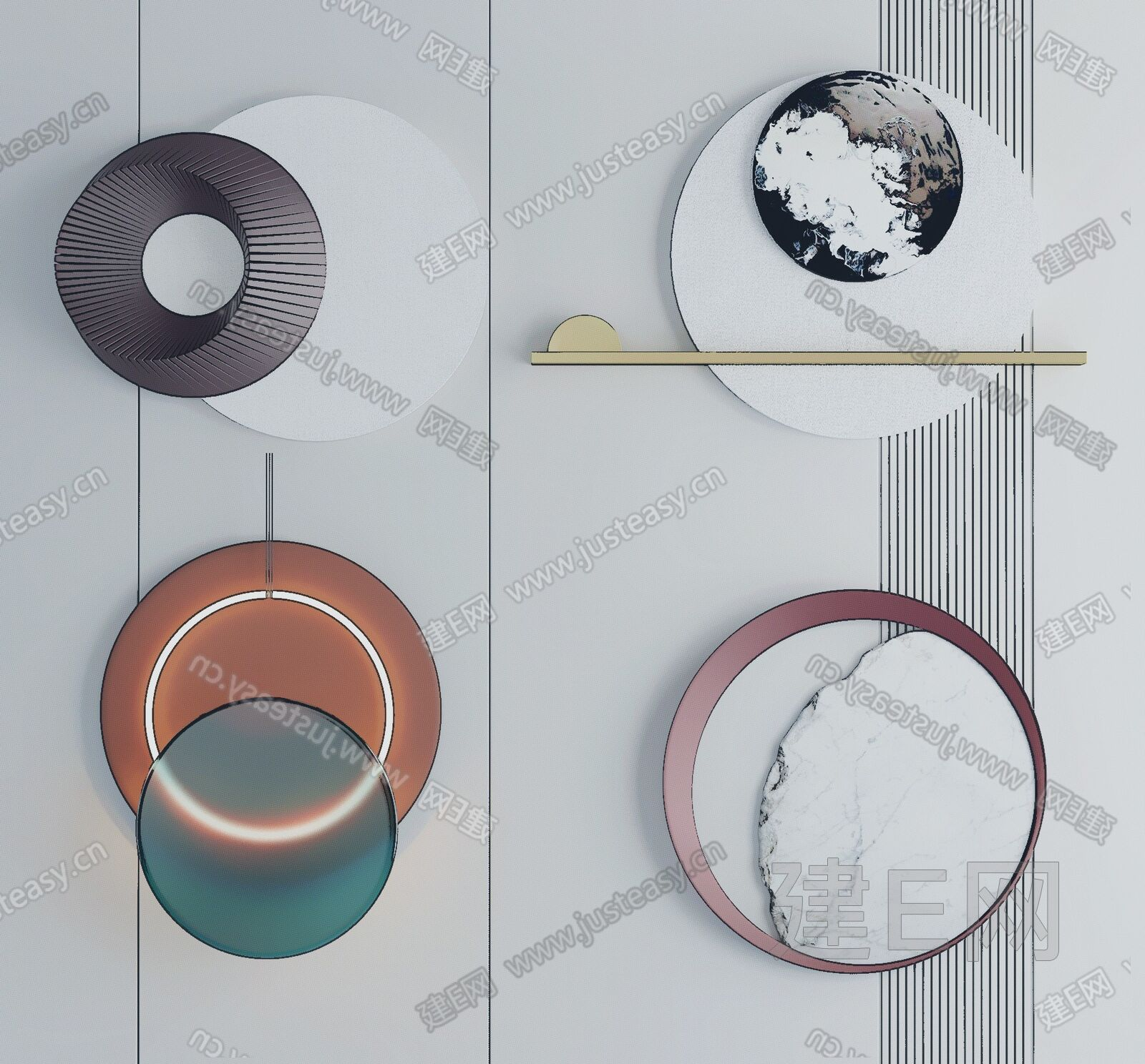 现代圆形墙饰组合sketchup模型