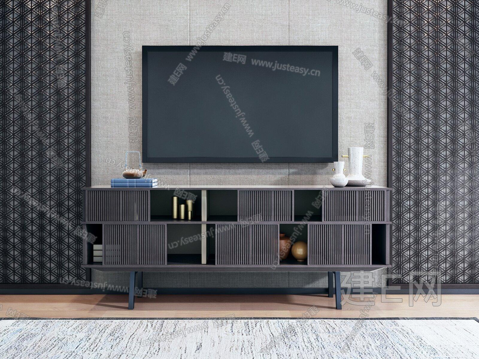 新中式电视柜3d模型