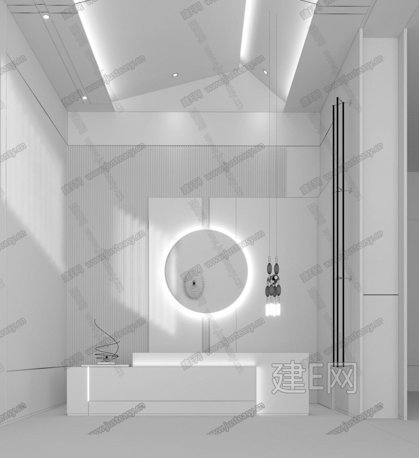 IF DESIGN 羽果设计 现代售楼处前台3d模型