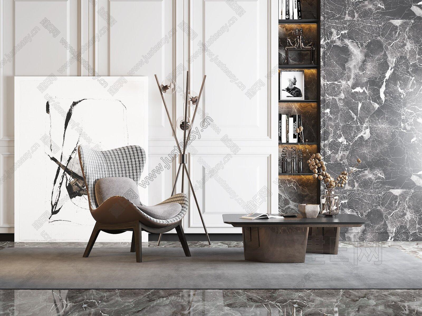 现代休闲沙发椅3d模型