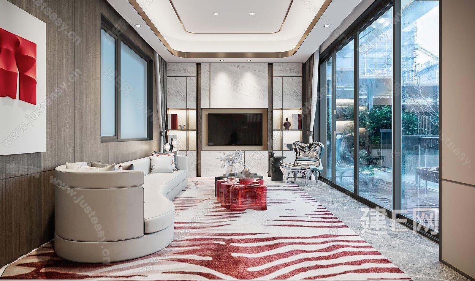 易和设计 新中式客厅3d模型