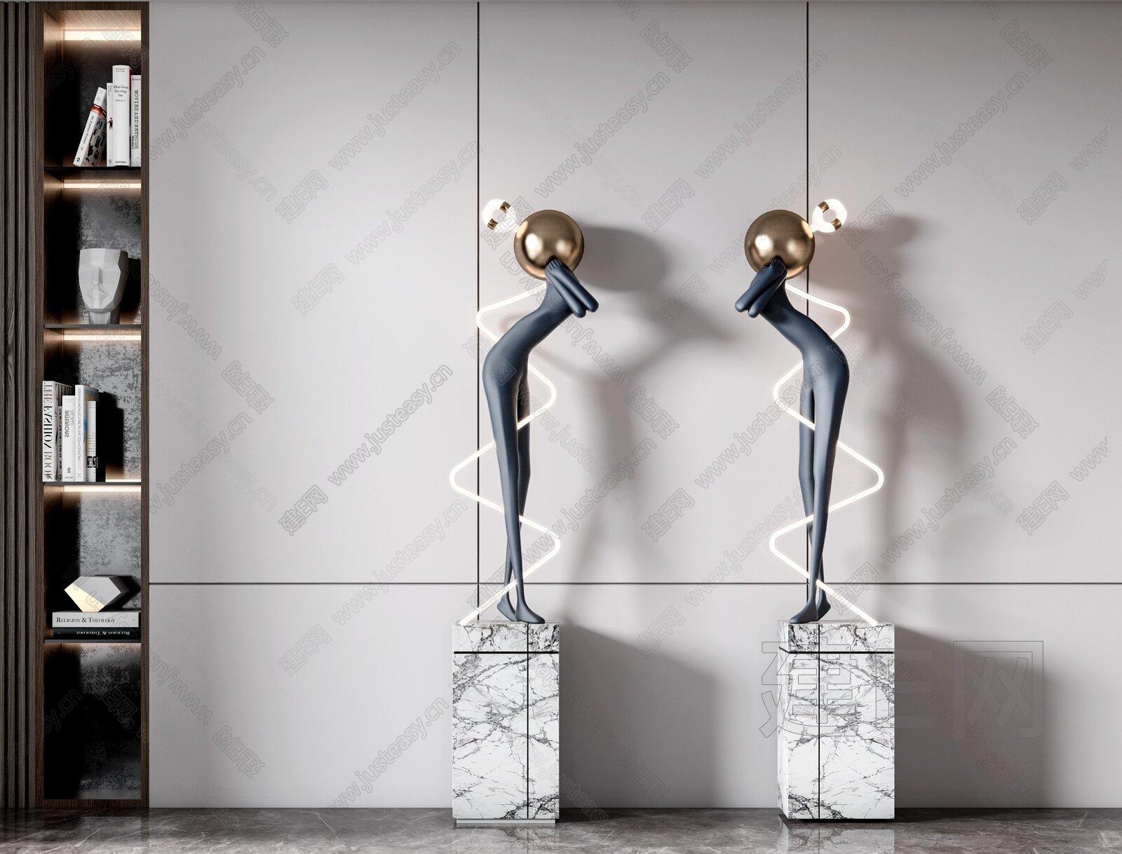 现代雕塑摆件组合3d模型