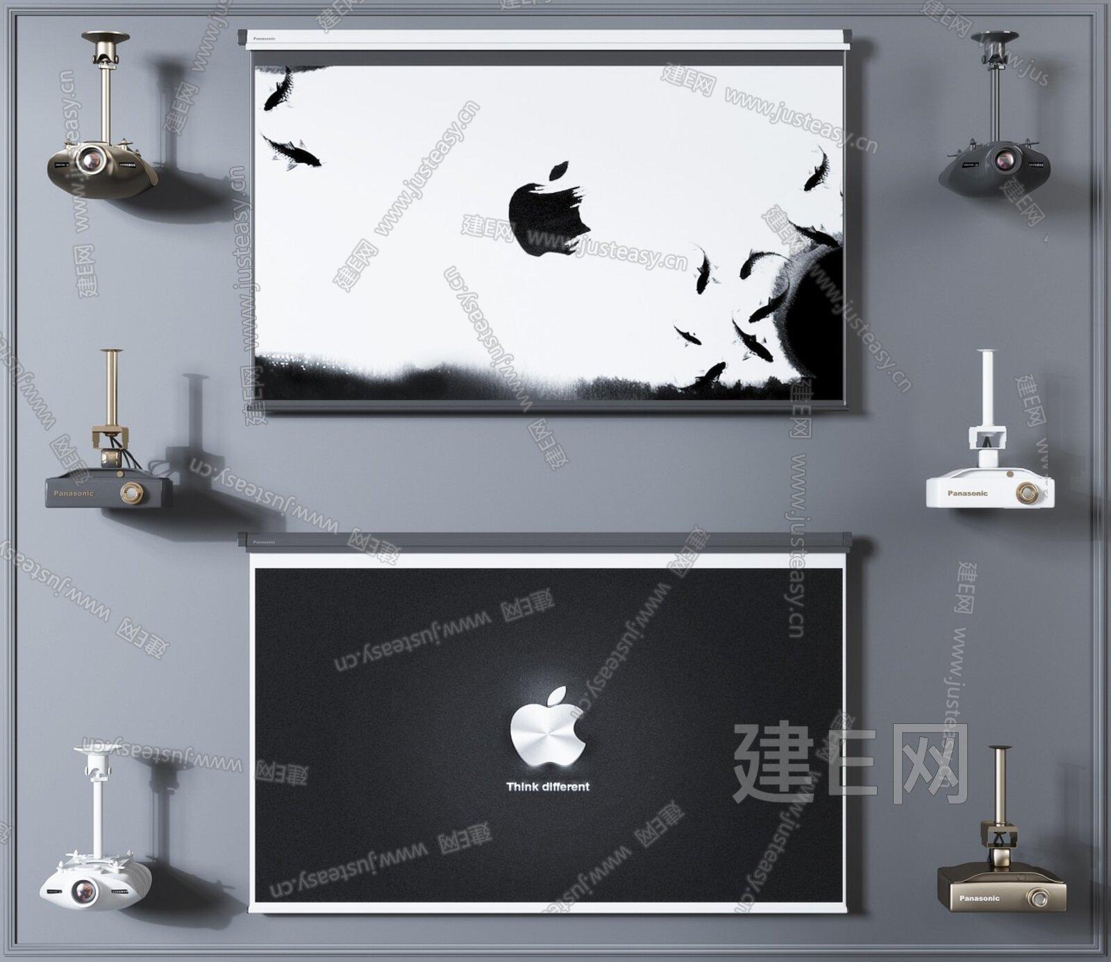 投影仪投影幕布组合3d模型