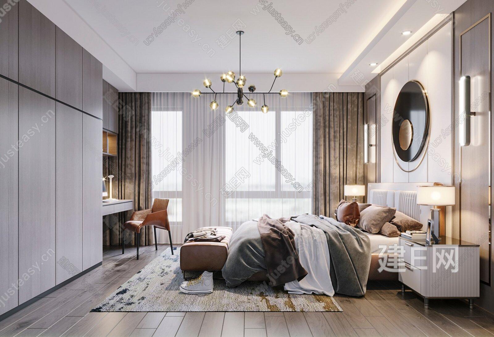 现代主卧室3d模型