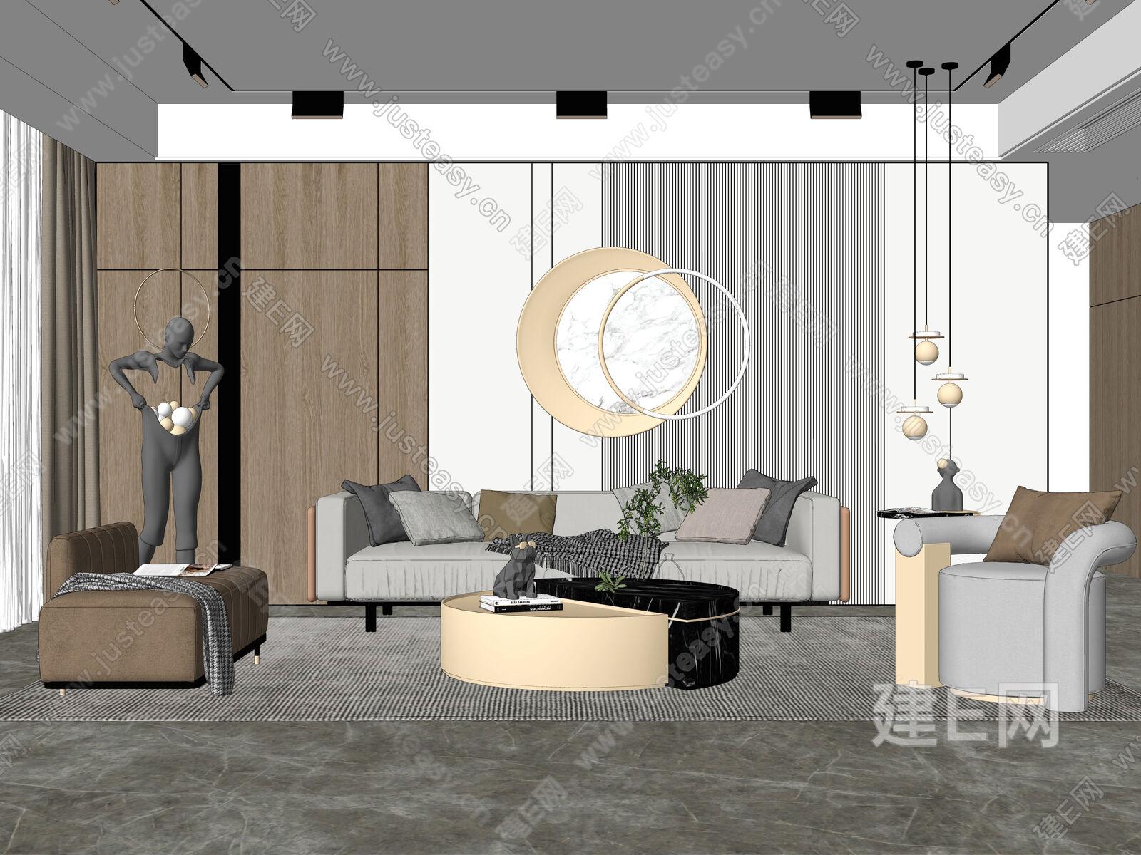 现代客厅sketchup模型