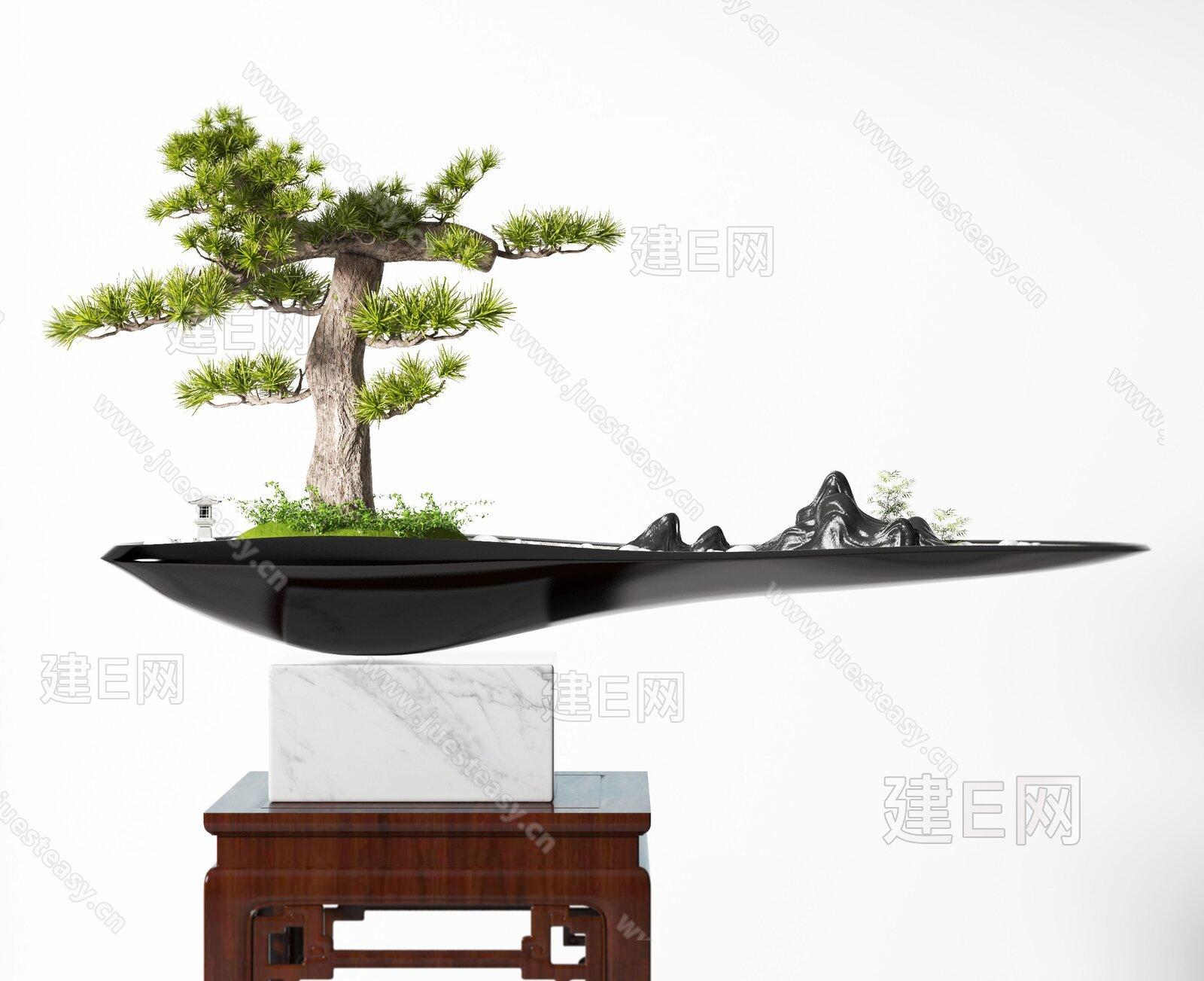 新中式盆栽盆景3d模型