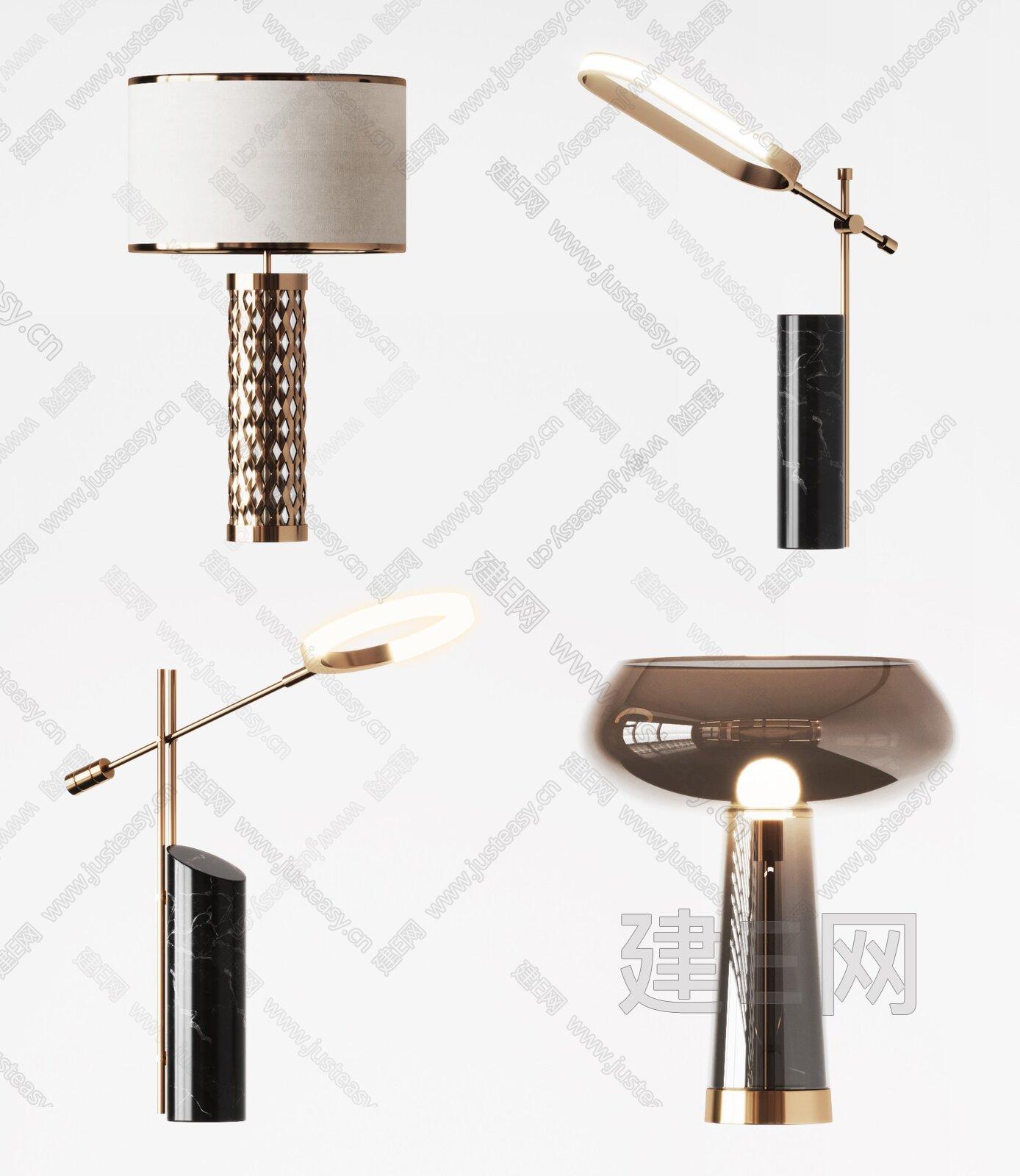 现代台灯组合3d模型