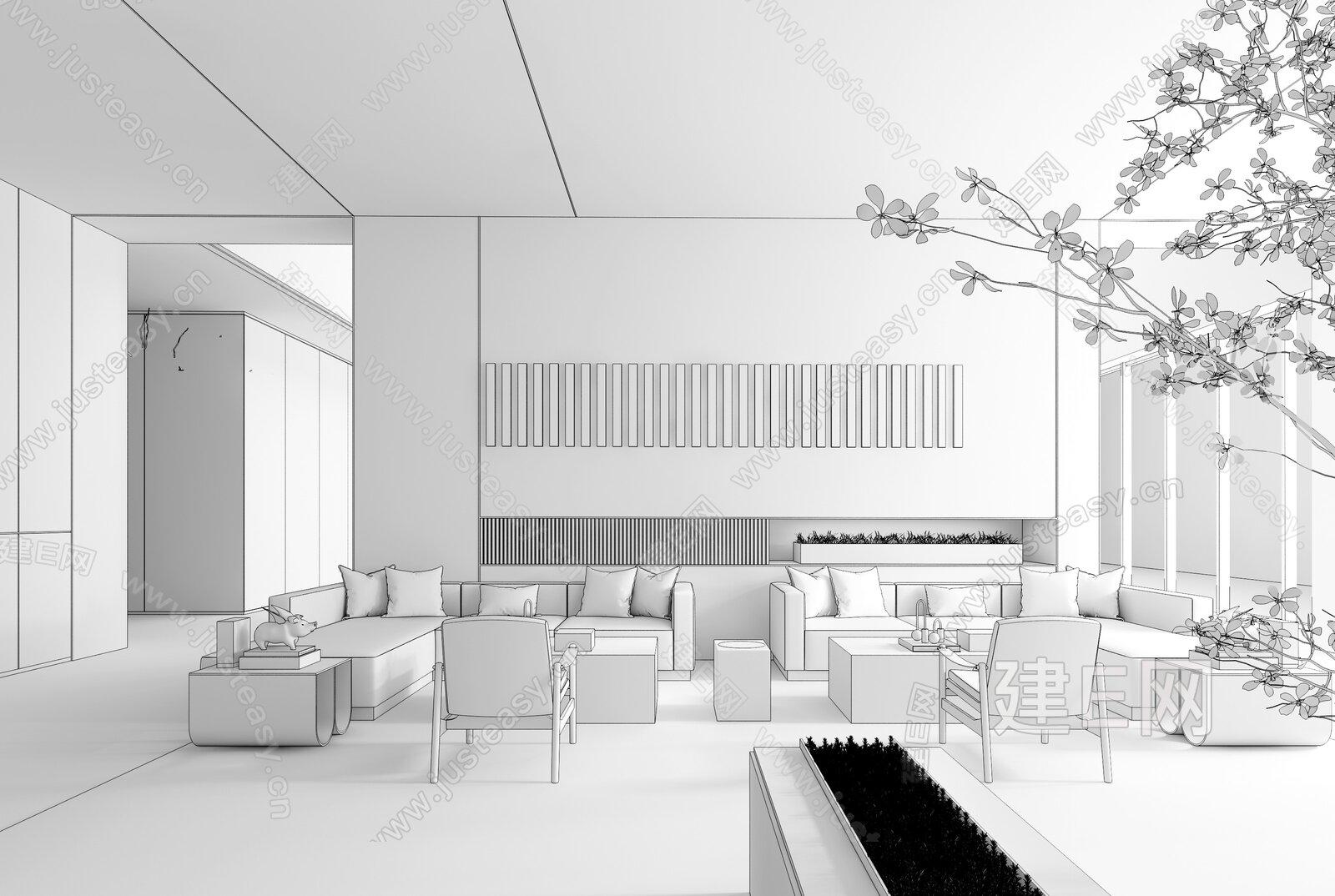 孙文未来设计事物所 现代售楼处会客区3d模型