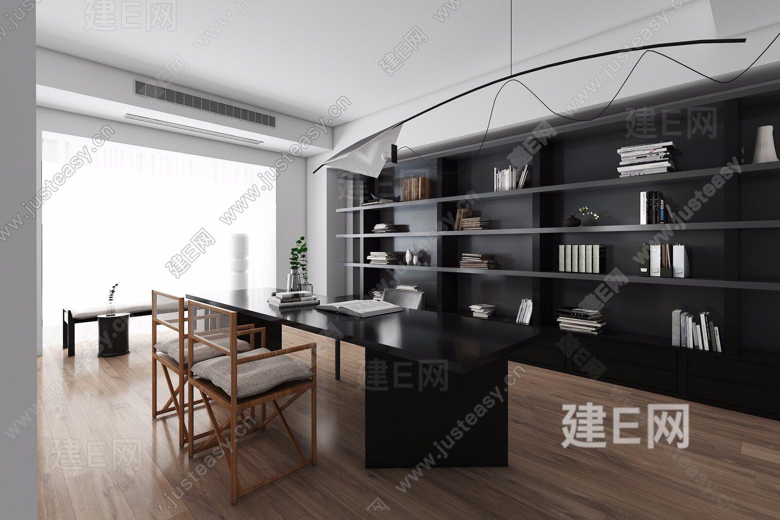 NX设计 现代书房3d模型