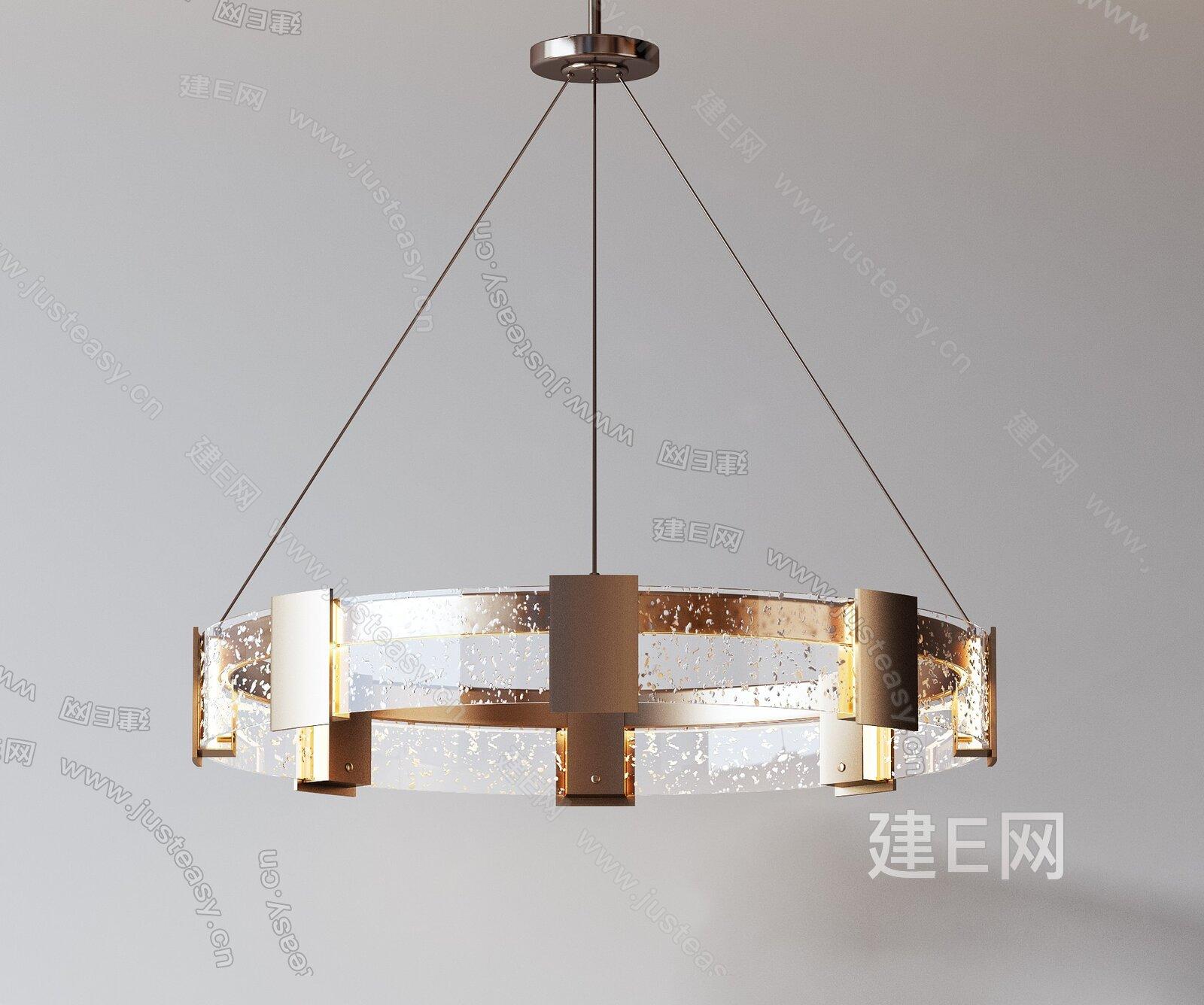 现代轻奢环形吊灯组合3d模型