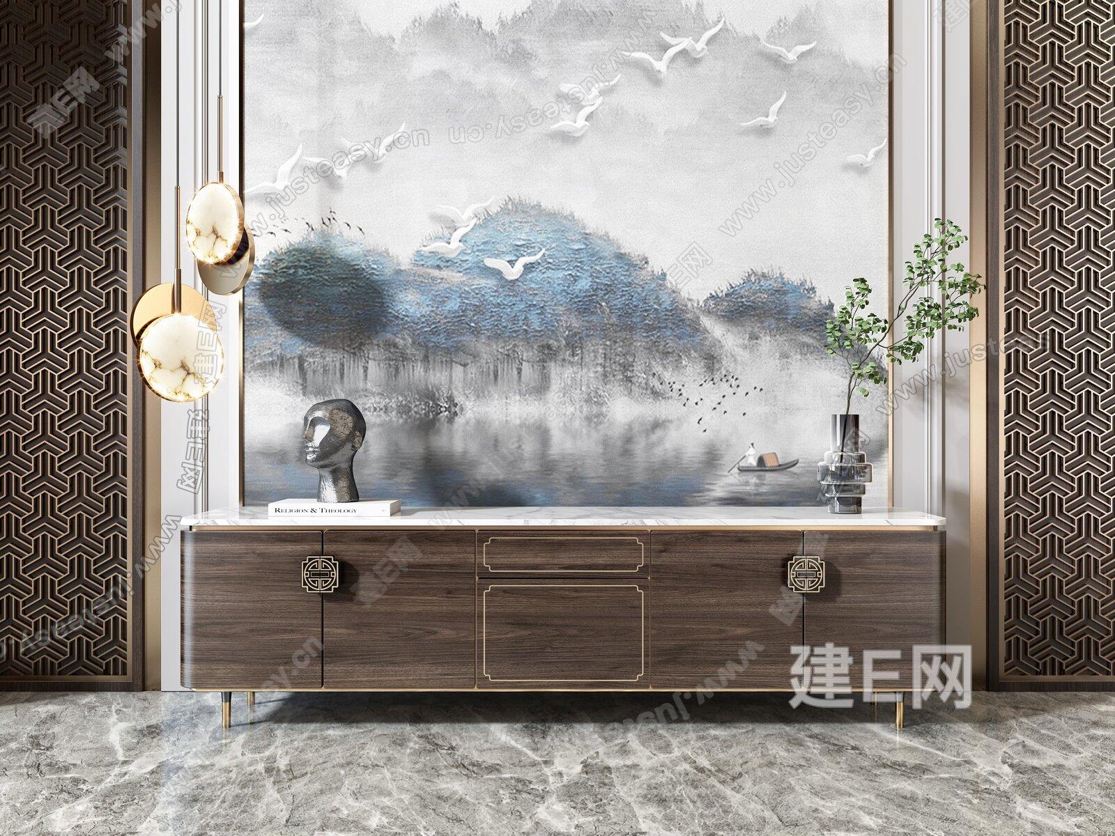 新中式电视柜吊灯屏风组合3d模型
