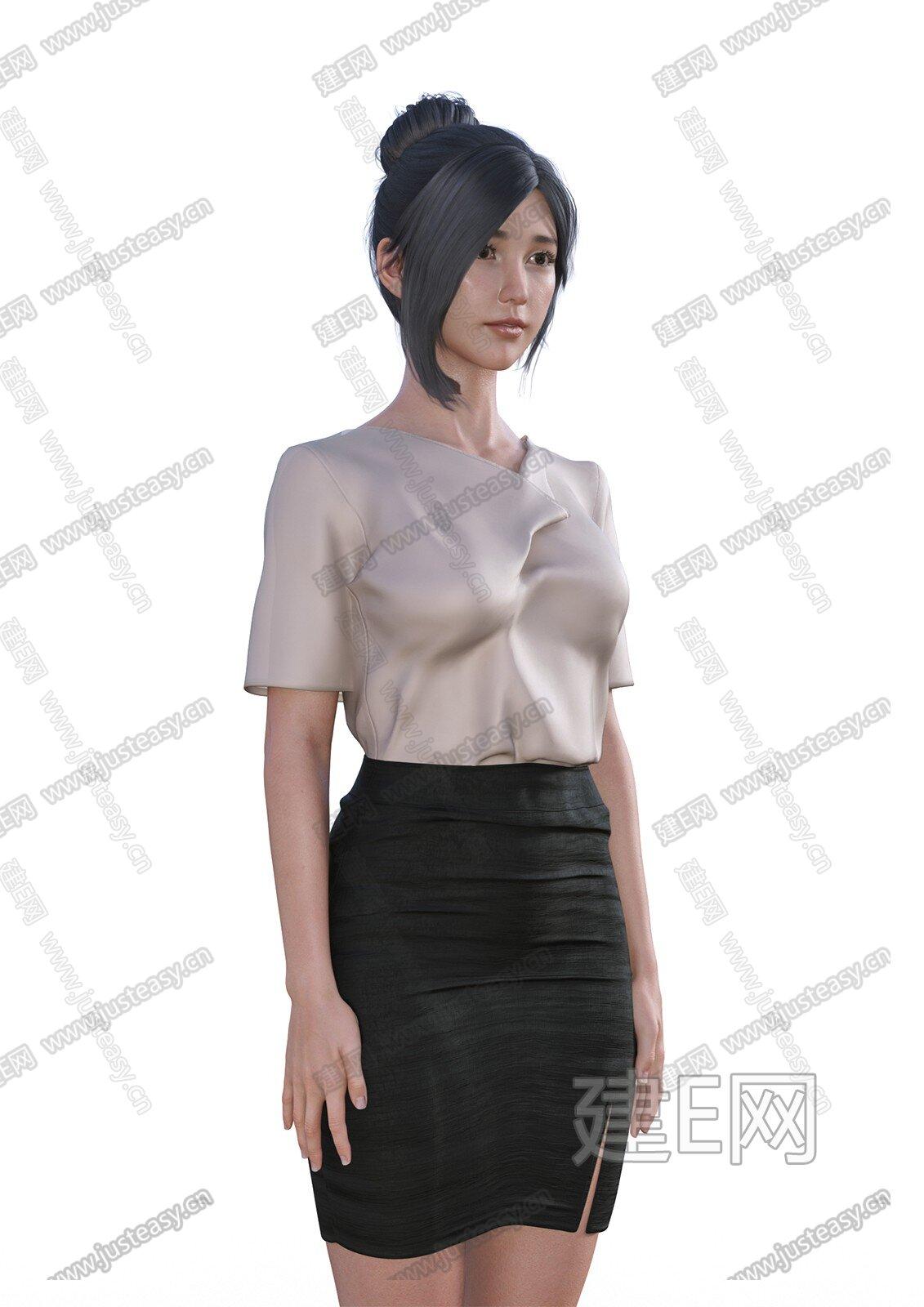 现代女人白领模特3d模型