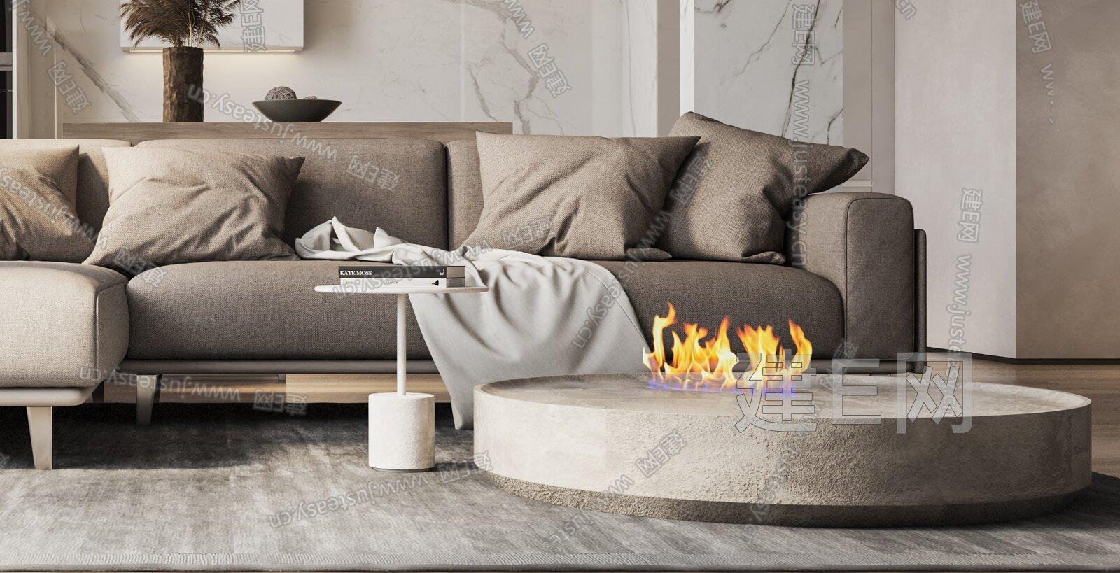 暖色简约式住宅客厅3d模型