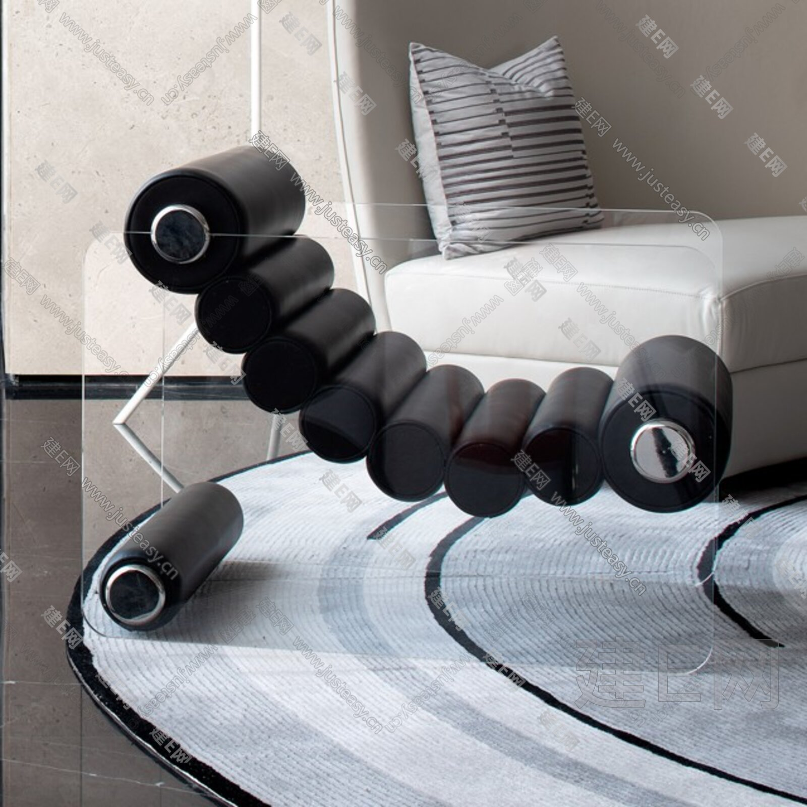 现代单椅边几组合3d模型