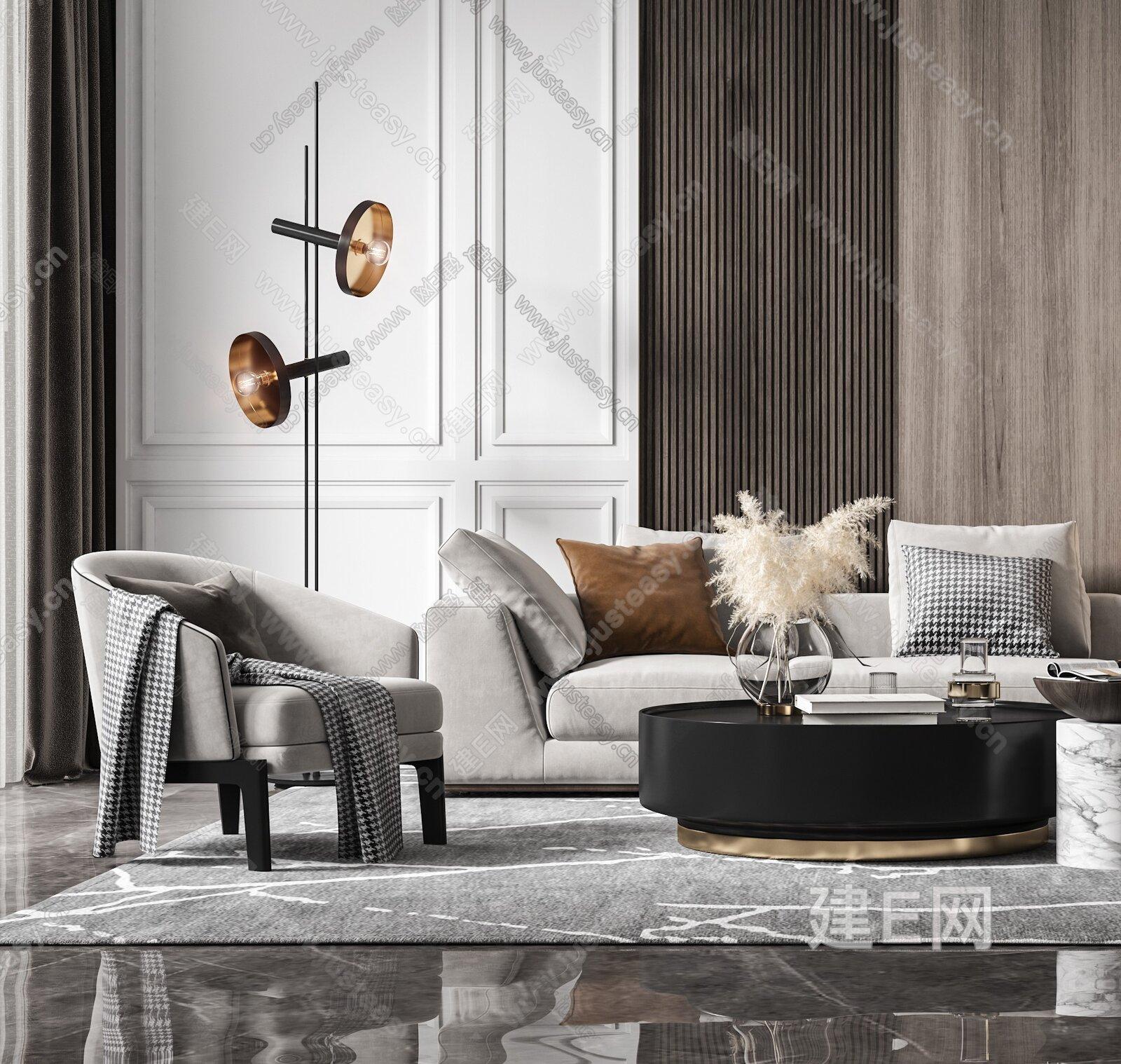 现代沙发茶几组合 3d模型