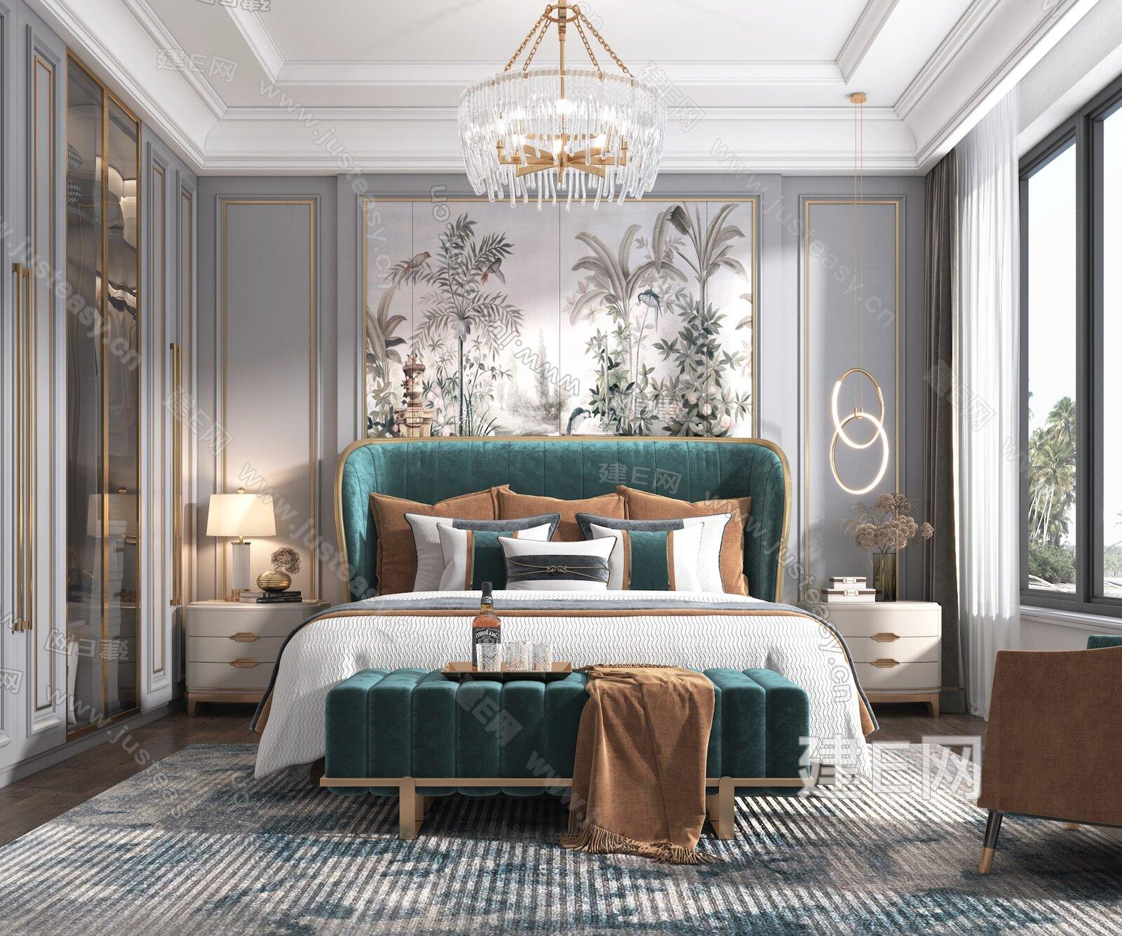 美式轻奢卧室3d模型
