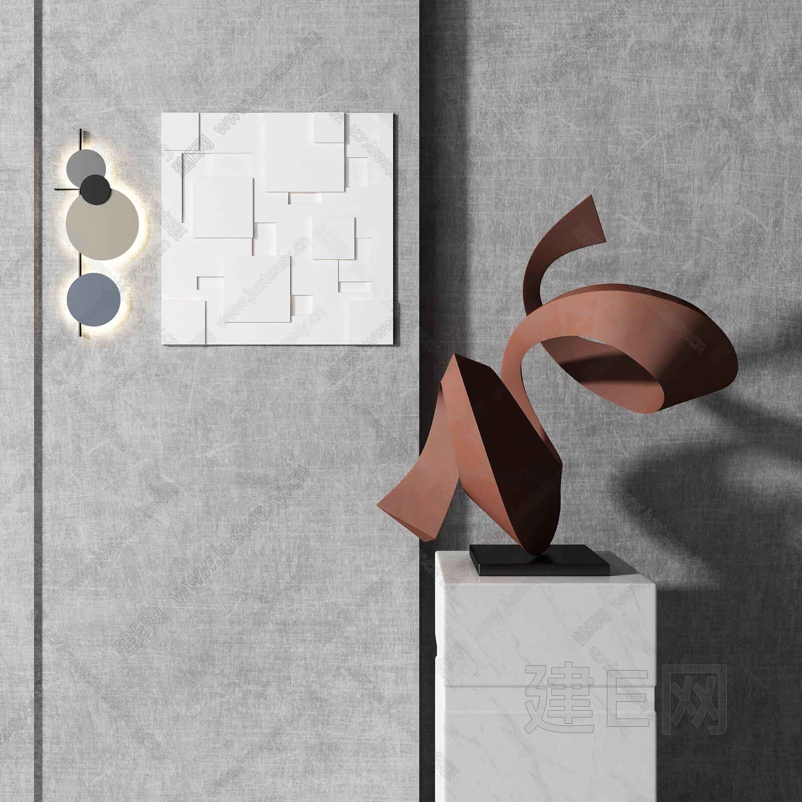 现代抽象雕塑壁灯组合3d模型