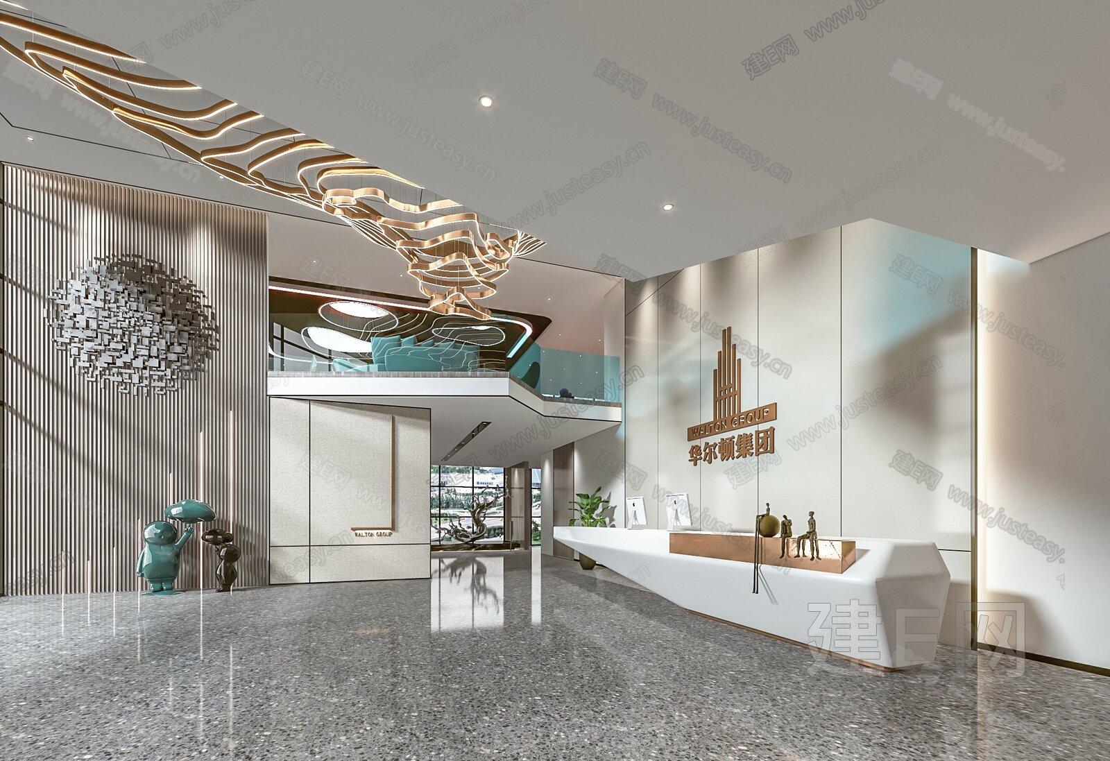 现代办公空间3d模型