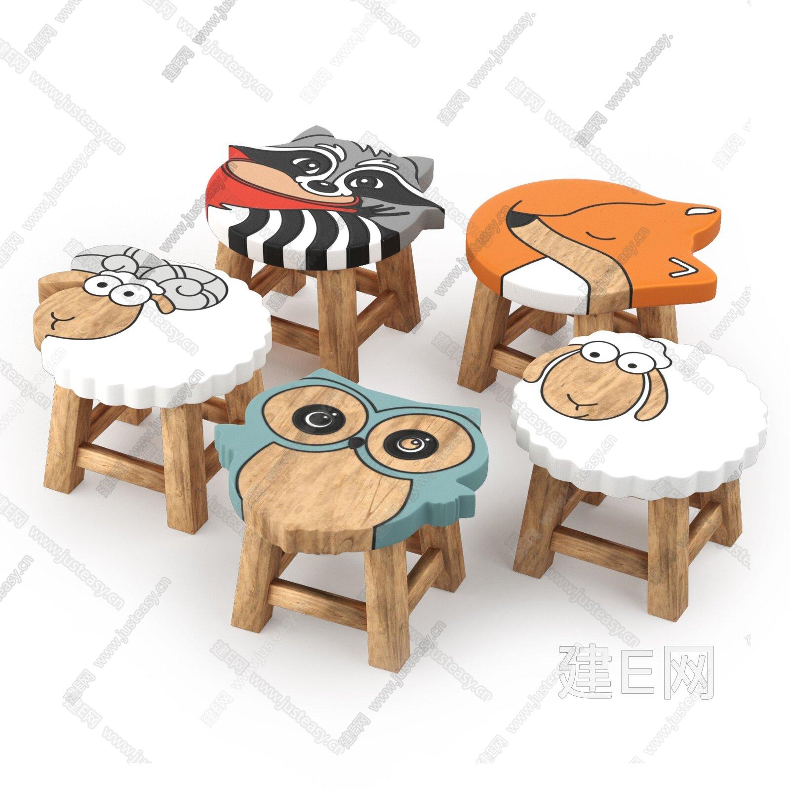 现代儿童桌椅组合3d模型