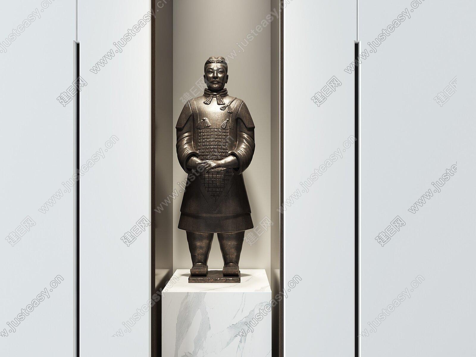 新中式雕塑摆件3d模型