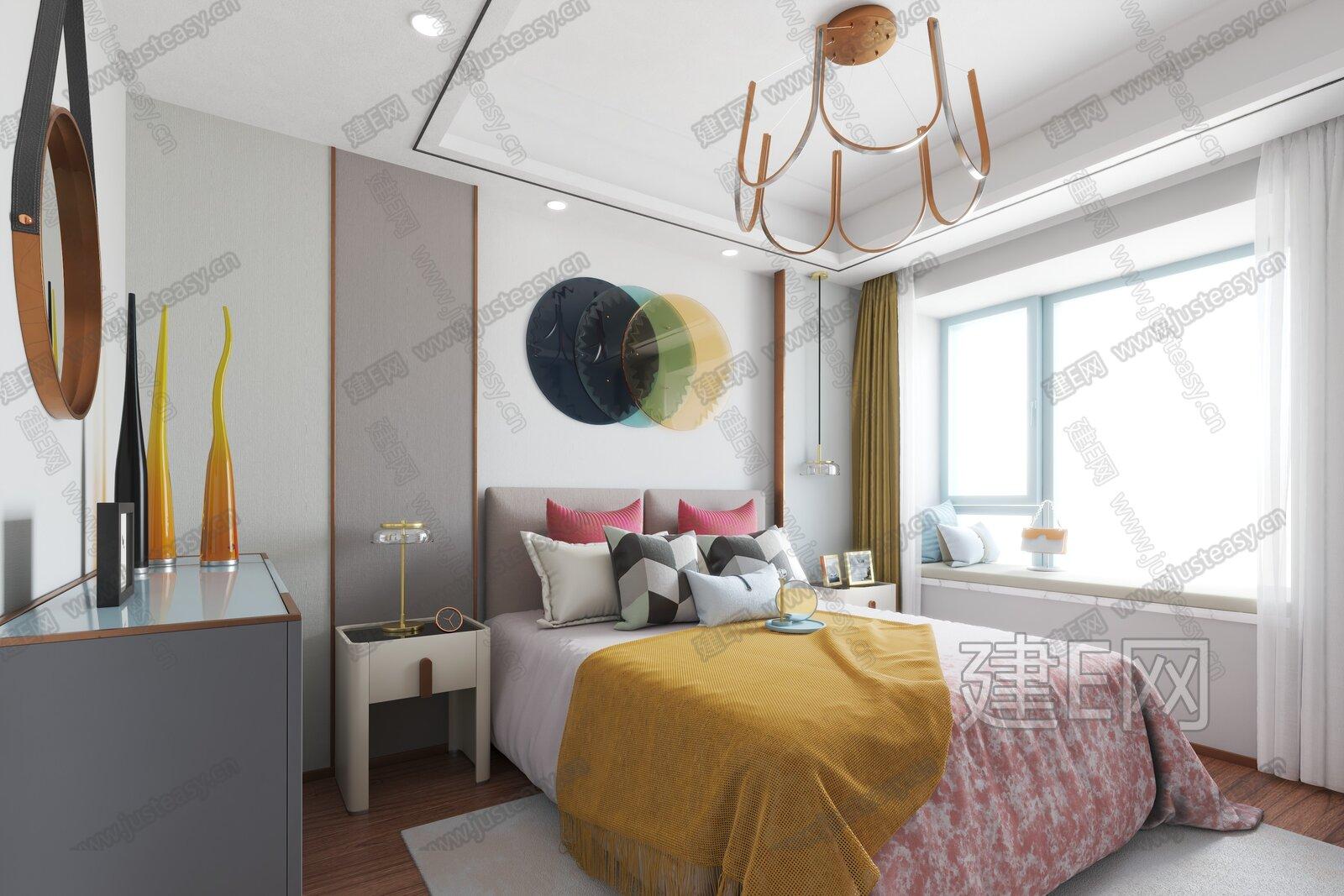 方黄设计 现代轻奢卧室3d模型