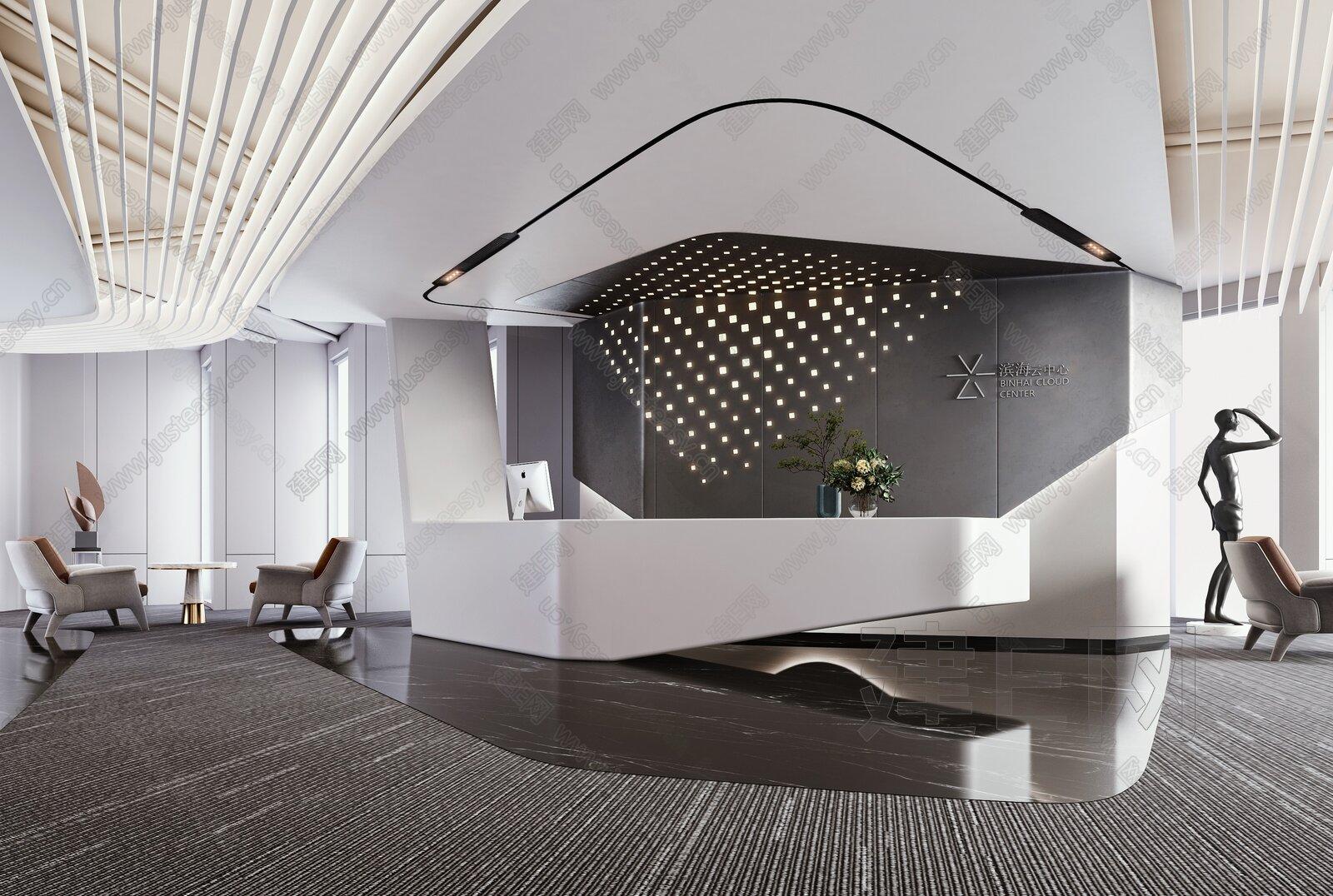 现代办公室前台接待大厅3d模型