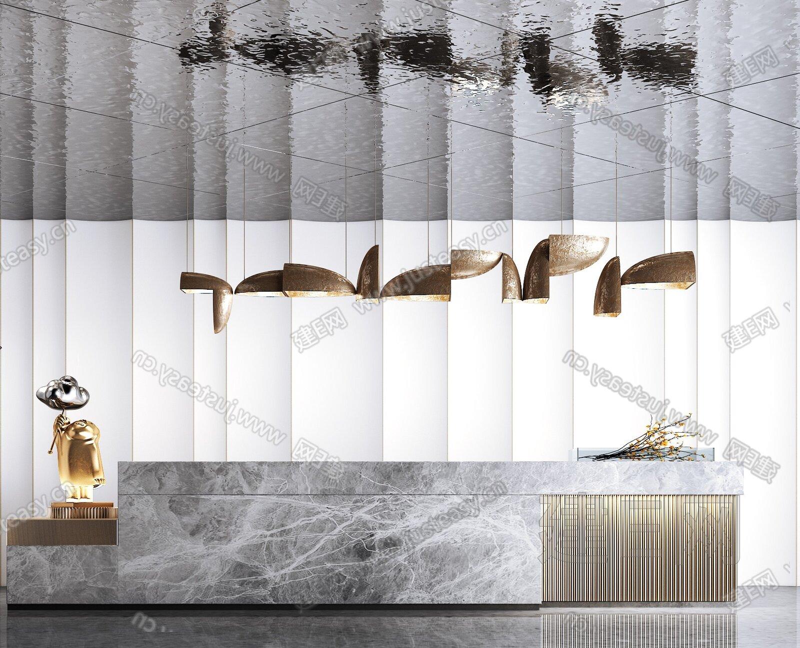 新中式大堂前台3d模型