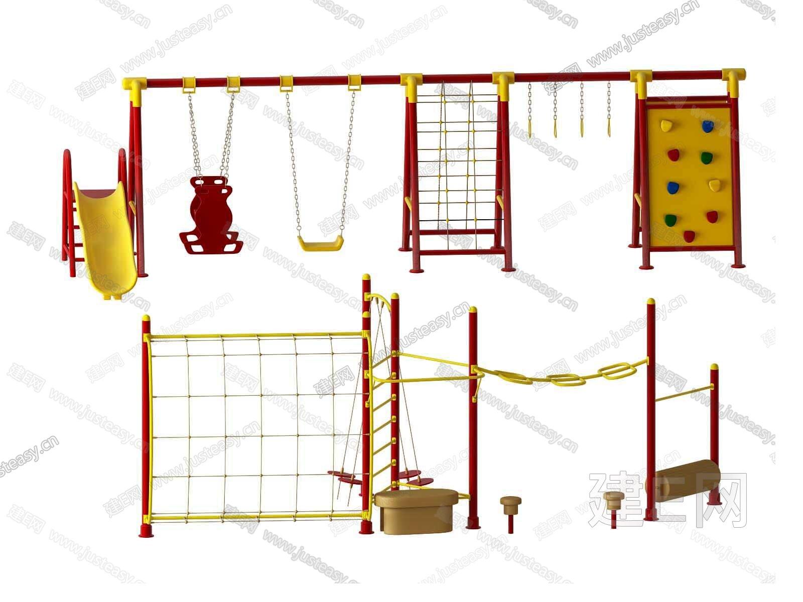 现代儿童游乐设施3d模型