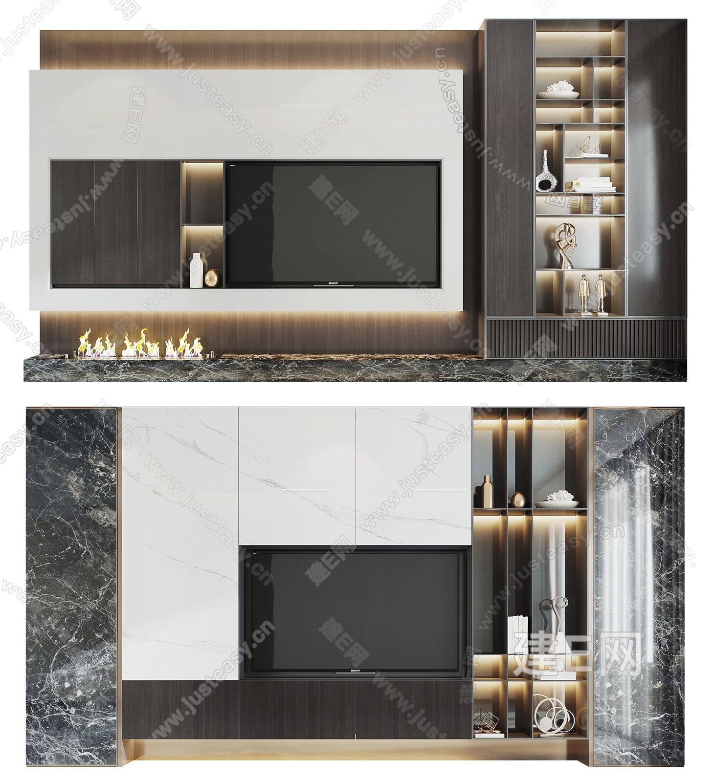 现代电视背景墙组合3d模型