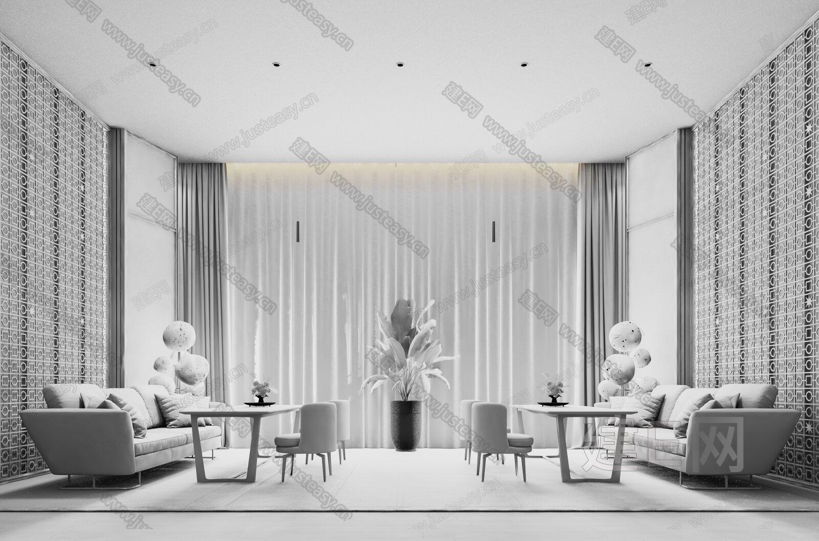 KOYI 柯翊设计 现代售楼处接待区3d模型