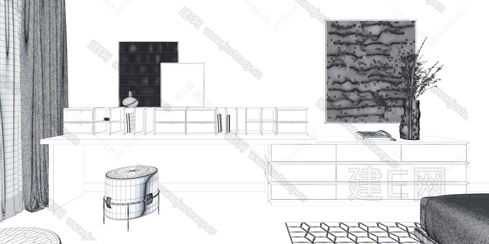 DESIGN羽果设计 现代电视柜梳妆台组合3d模型