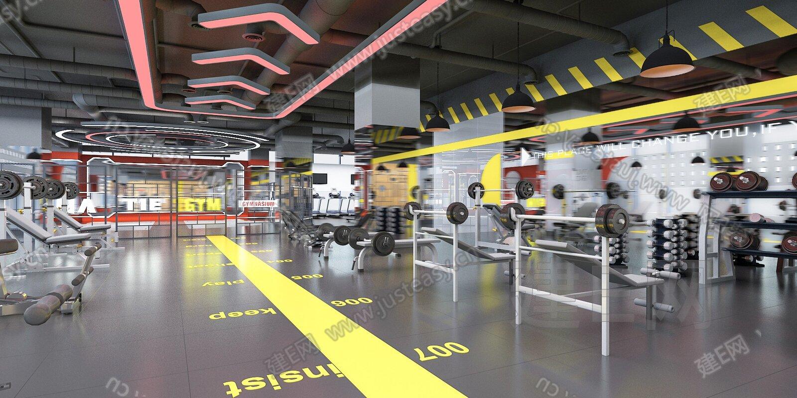 现代健身房力量专区3d模型