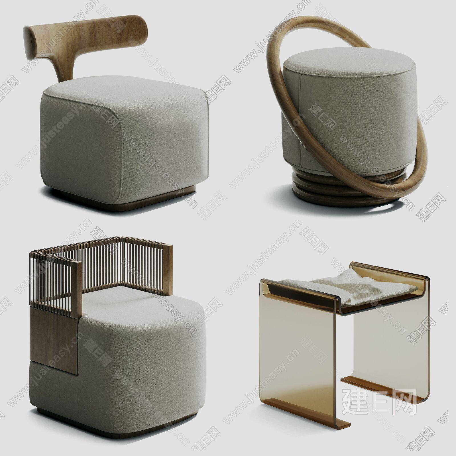 现代凳子组合sketchup模型
