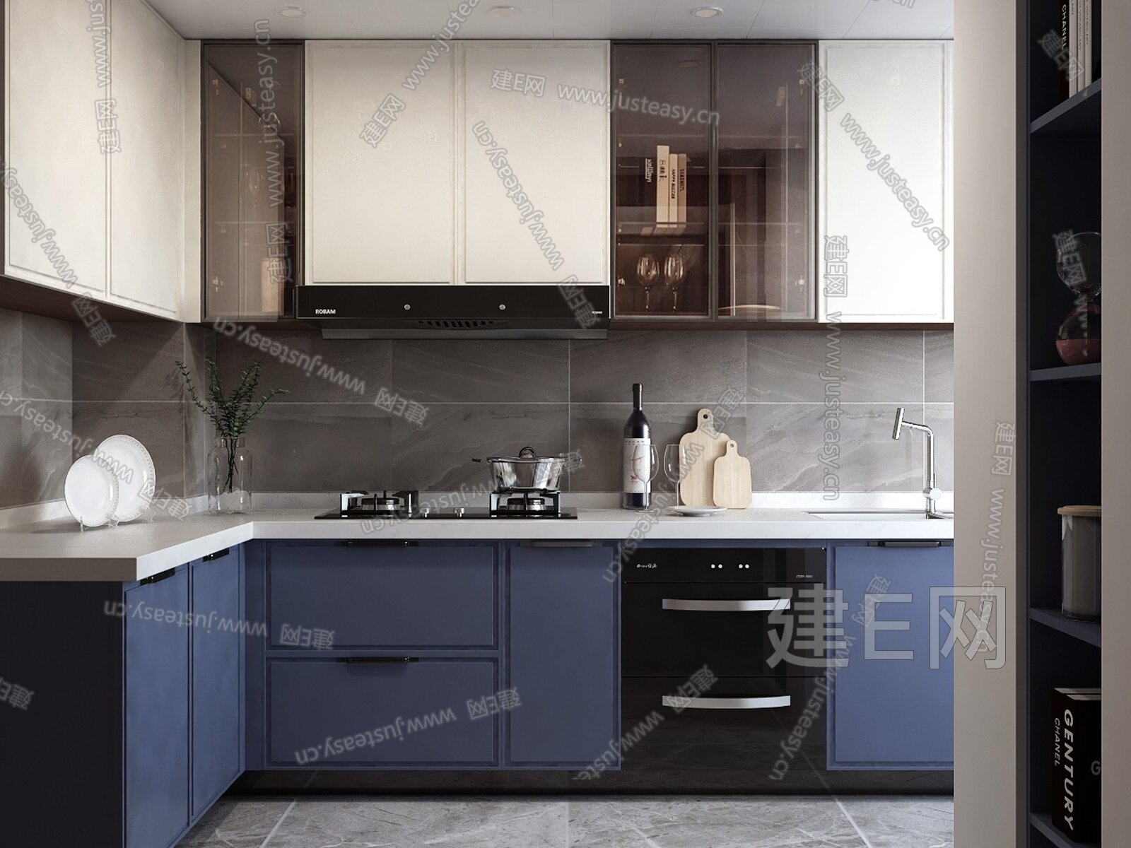 EASE 东巷轻素 现代开放厨房 3d模型