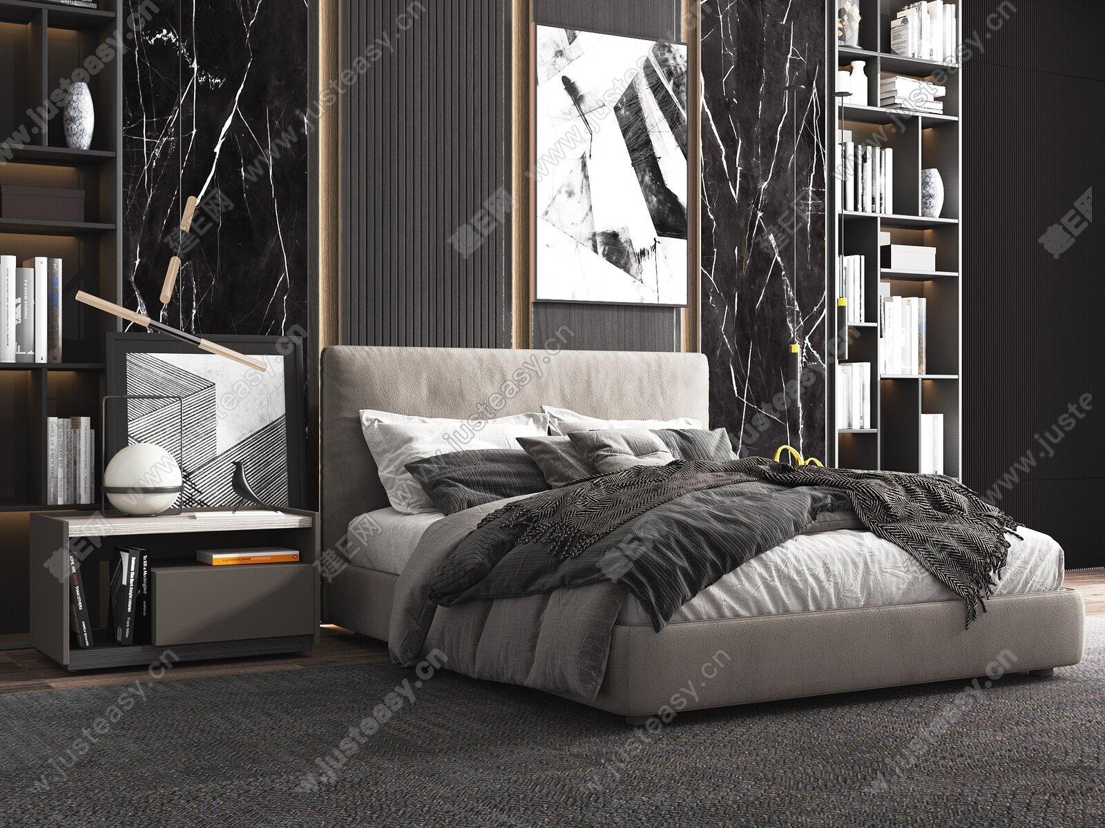 Molteni&C 现代双人床3d模型
