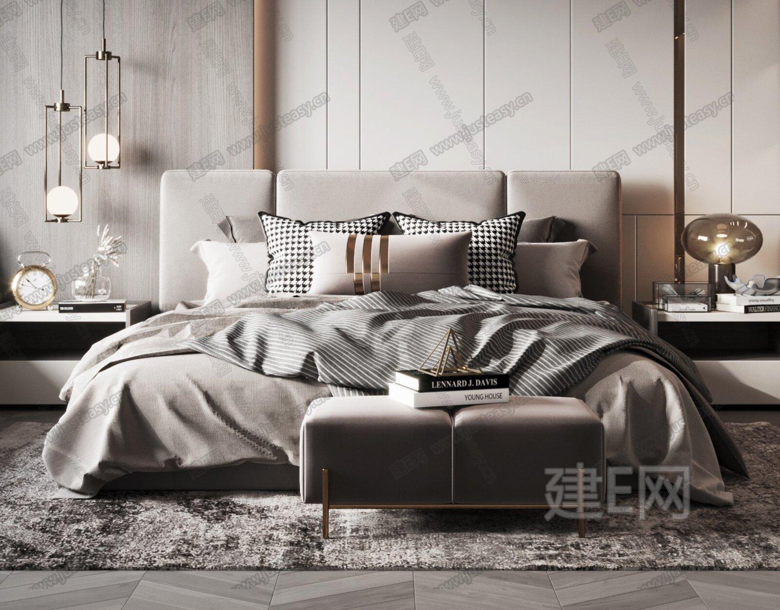 现代轻奢主卧室3d模型