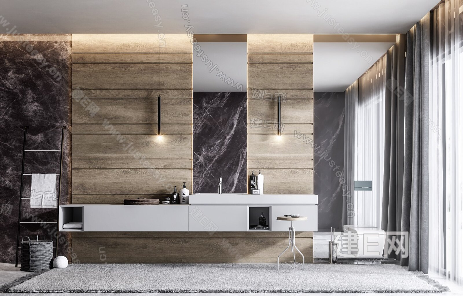 现代卫生间洗手台3d模型
