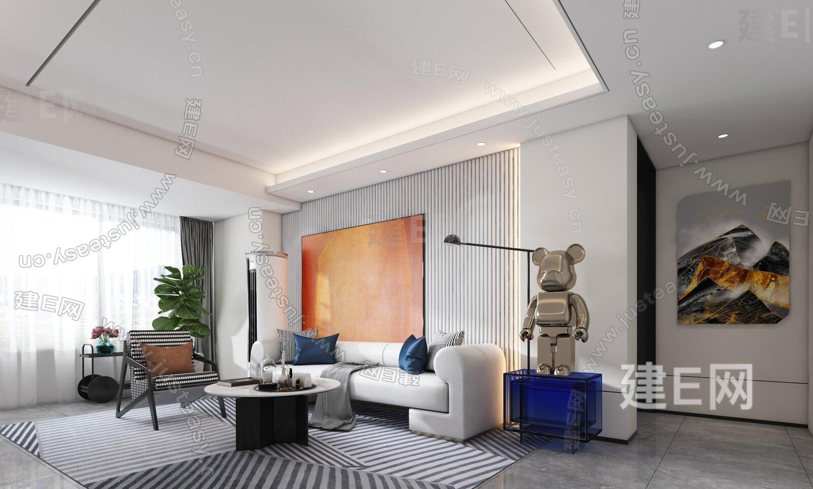 岳蒙设计 现代客厅3d模型